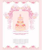 Wedding cake card design — Stock Vector