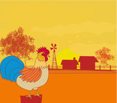 Illustrations of crowing rooster on farm backgrounds. — Stock Vector