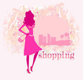 Abstract fashion girl Shopping - illustration — Stock Vector