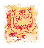 Abstracted grunge Tiger illustration — Stock Vector