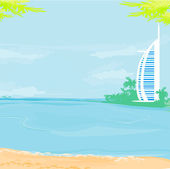 The Burj Al Arab Hotel in Dubai — Stock Vector