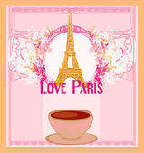 Love Paris with tower Eiffel and coffee over pink background. v — Stock Vector