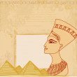 Old paper with Egyptian queen — Stock Vector