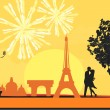 Eiffel Tower and fireworks — Stock Vector