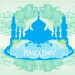 Stock Vector: Ramadan background - mosque silhouette illustration card