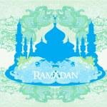 Ramadan background - mosque silhouette illustration card — Stock Vector