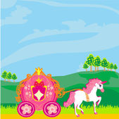 Fine horsy harnessed in the carriage of the princess. — Stock Vector