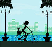 Happy Driving Bike with Cute Girl — Stock Vector