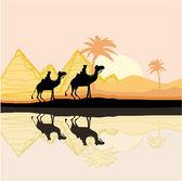 Bedouin camel caravan in wild africa landscape illustration — Stock Vector