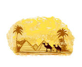Bedouin camel caravan in wild africa landscape illustration — Stock Vector