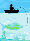 Fisherman catching the fish — Stock Vector