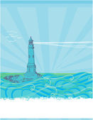 Lighthouse seen from a tiny beach - blue Poster — Stock Vector