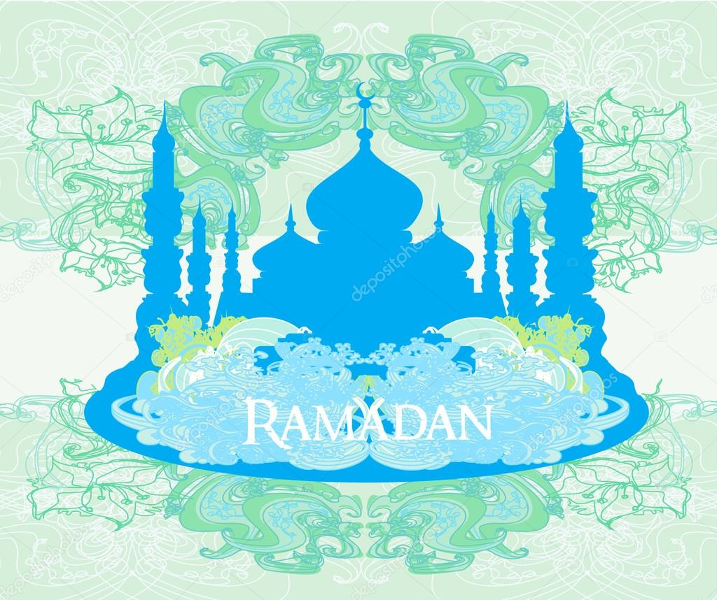 Ramadan background - mosque silhouette illustration card — Stock ...