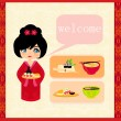 Sweet girl enjoy sushi - foods set — Stock Vector