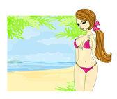Fille sexy à la plage d'été — Vecteur