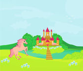Fairytale landscape with magic castle and pink unicorn — Stock Vector