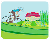 Sport road bike bicycle rider in wild nature landscape — Stock Vector