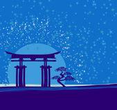 ворота японии в полночь с луны — Cтоковый вектор