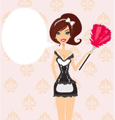 Sexy pinup style french maid — Stock Vector