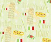 Italy travel seamless pattern with national italian food, sights — Stock Vector