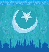 功妙なパターンの背景に月、モスク — ストックベクタ