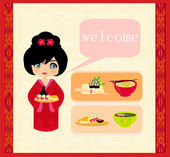 Sweet girl enjoy sushi - foods set — Stock Vector