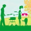 A vector illustration of a family having a picnic in a park — Image vectorielle