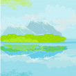 Vector landscape with mountains — Stock Vector