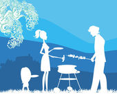 Happy family with barbecue outdoors — Stock Vector