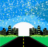Highway to city with large moon — Stockvector