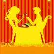 Couple Enjoying Sushi In Restaurant — Stock Vector