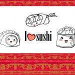 Cute sushi cartoon illustration - vector card — Stock Vector #18710473