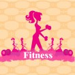 Abstract fitness girl training - poster background — Stock Vector