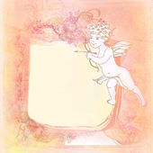 Happy valentines day - vintage card with cupid — Stock Photo