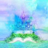 Magic world of tales, fairy castle appearing from the book — Stock Photo