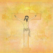 Jesus christ in the cross - vintage paper — Stock Photo