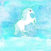 Illustrazione del bellissimo unicorno blu. — Foto Stock