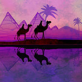 Camel train silhouetted against colorful sky crossing the Sahara — Stock Photo