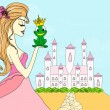 Beautiful young princess kissing a big frog — Imagens vectoriais em stock