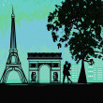Romantic couple in Paris kissing near the Eiffel Tower — Stock Vector #19066711