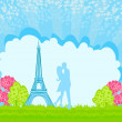 Romantic couple in Paris kissing near the Eiffel Tower — Stock Vector #19066751