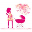 Mother with baby stroller — Stock Vector