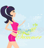 Jogging girl in summer poster — Stock Vector