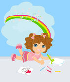 A girl drawing a rainbow, thinking about her work. — Stock Vector