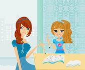 妈妈帮她的女儿做作业或在家里的功课. — 图库矢量图片