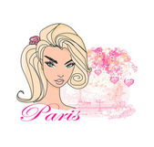 Abstract Beautiful Woman in Paris poster — Stock Vector