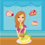 Diet eating temptation — Stock Vector