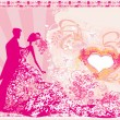 Wedding dancing couple background — Stock Vector