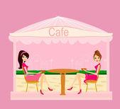 Cute pretty girls in coffee break — Stock Vector