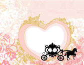 Vintage carriage design - floral background — Vecteur